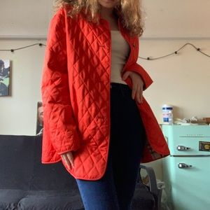 Burberry red quilted collared jacket/coat w/ plaid